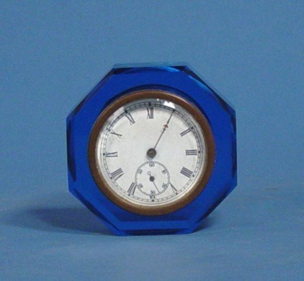 1616: E N Welch Blue Glass Paper Weight Clock