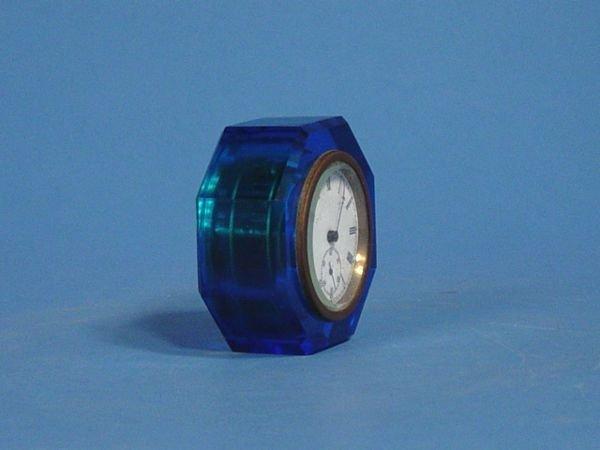 1616: E N Welch Blue Glass Paper Weight Clock - 2