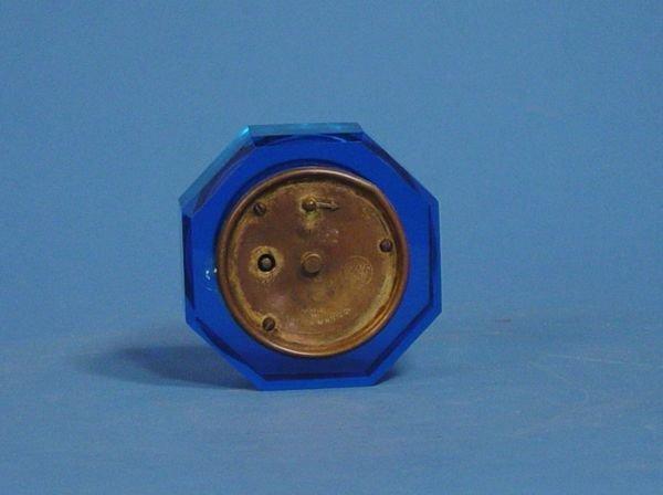 1616: E N Welch Blue Glass Paper Weight Clock - 3