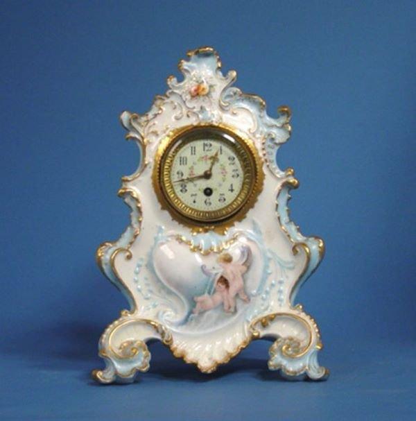 1630: Large French Porcelain Case Mantel Clock