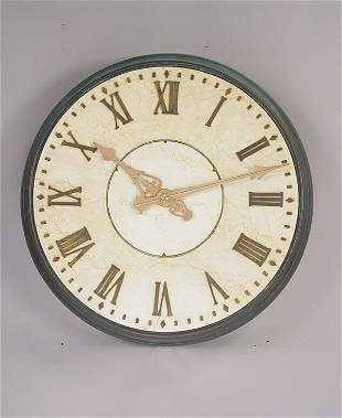 Large Round Bronze & Marble Wall Clock