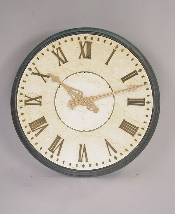 14: Large Round Bronze & Marble Wall Clock