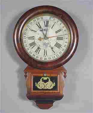 Rare Ansonia Antique Calendar Wall Clock