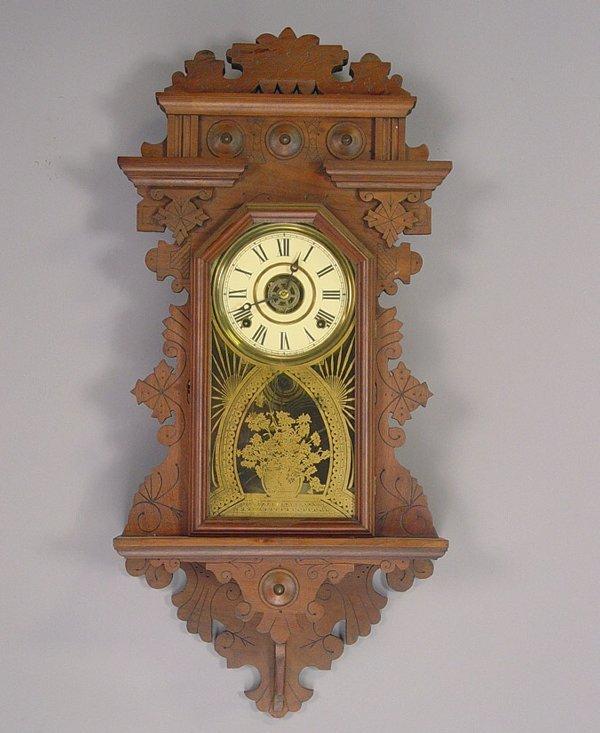 32: E. Ingraham Fancy Antique Wall Clock