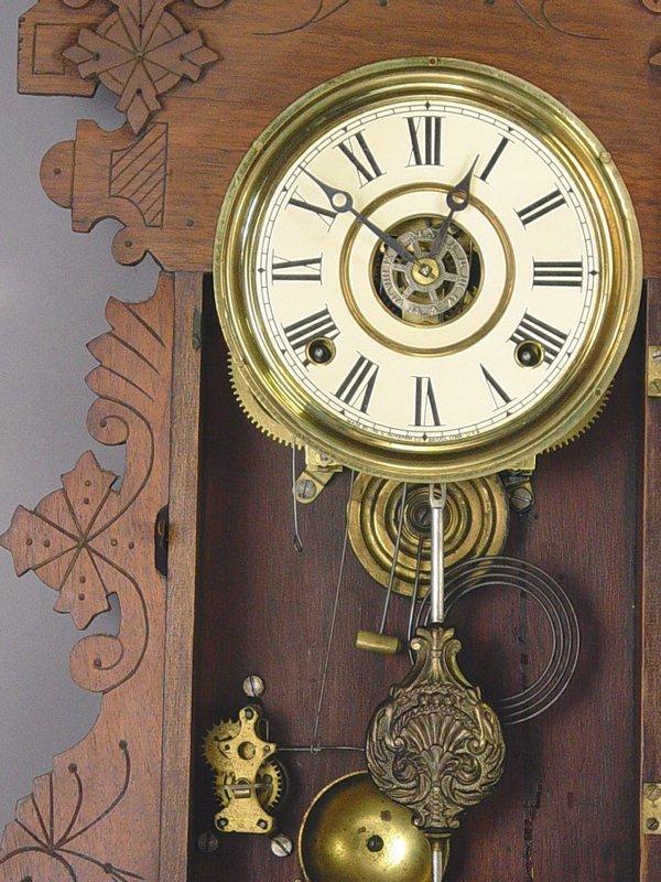 32: E. Ingraham Fancy Antique Wall Clock - 2