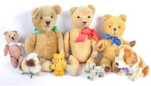A charming collection of x8 antique and vintage stuffed