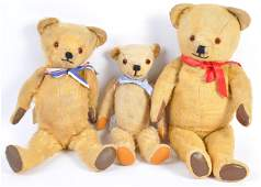 A charming collection of x3 antique  vintage teddy