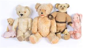 A charming collection of x5 antique  vintage teddy