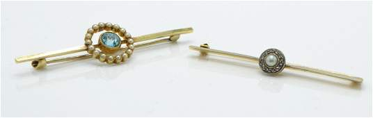 Two early 20th century bar brooches To include an 18ct