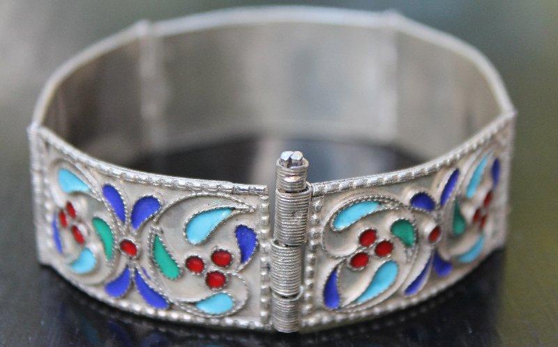 Very Fine Russian Silver Enamel Panel Bracelet Marked