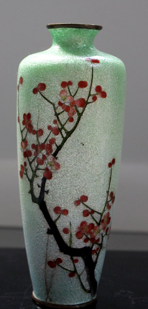 Japanese Cloisonne Silver Wire Vase OTA Toshiro