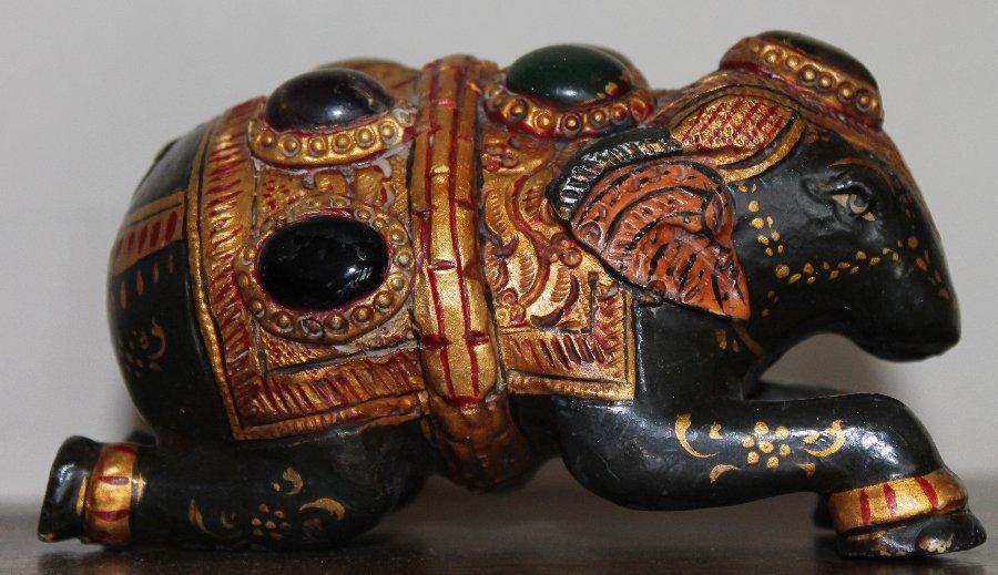 Indian Cast Metal Gilt Elephant w Inset Gemstones