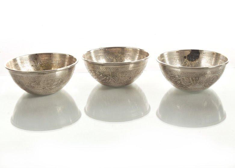 Fine Set of Three Egyptian .900 Silver Bowls Arabic