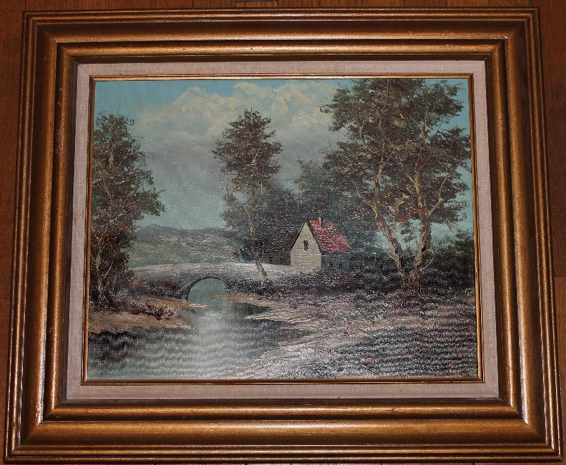 Gilt Framed Oil on Canvas Landscape Signed Poiret