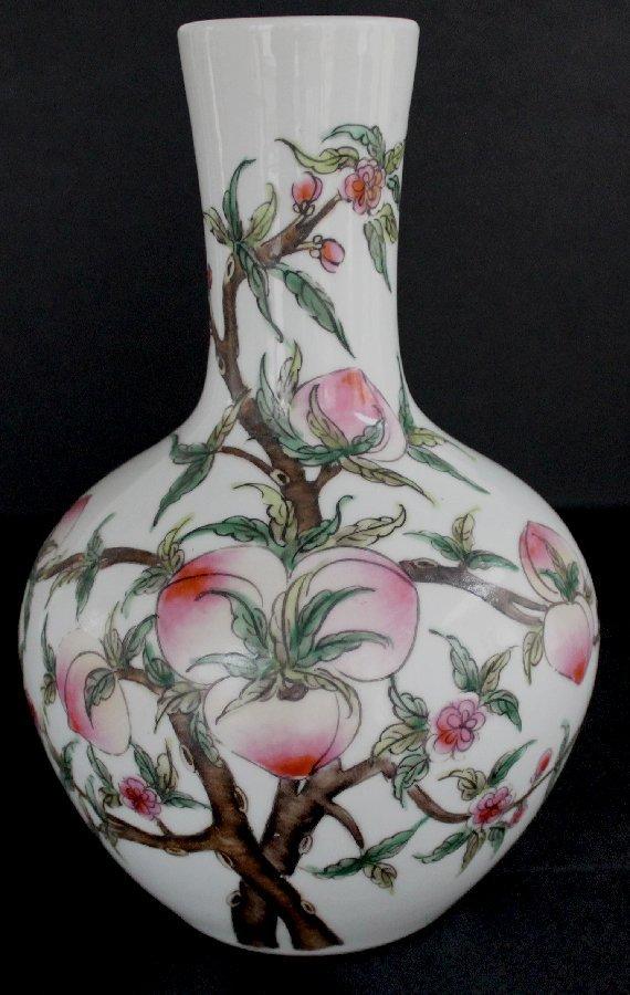 Chinese Famille Rose Bottle Vase Peaches Ju Ren Tang