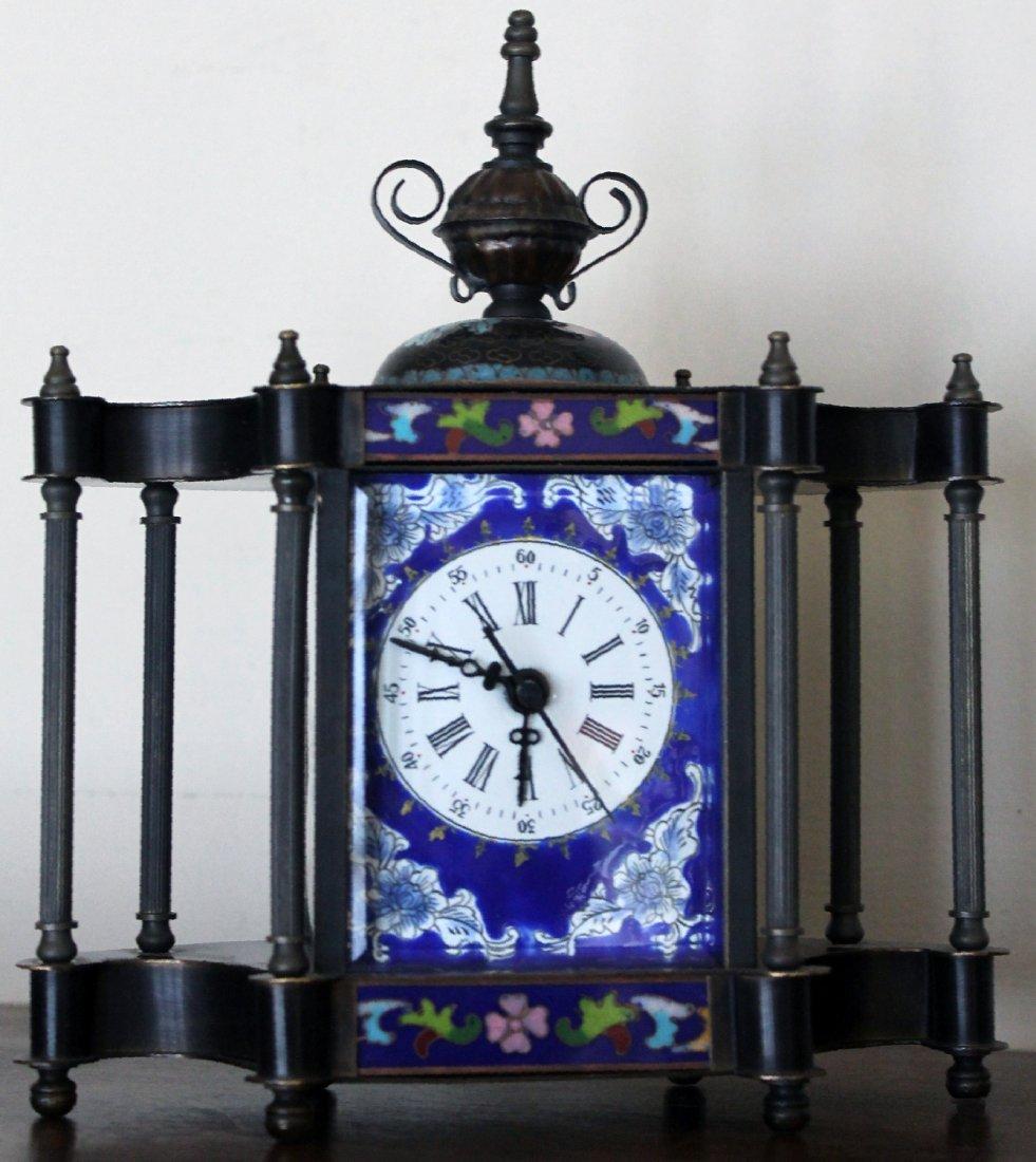 Vintage Brass Enamel Cloisonne Portrait Mantle Clock