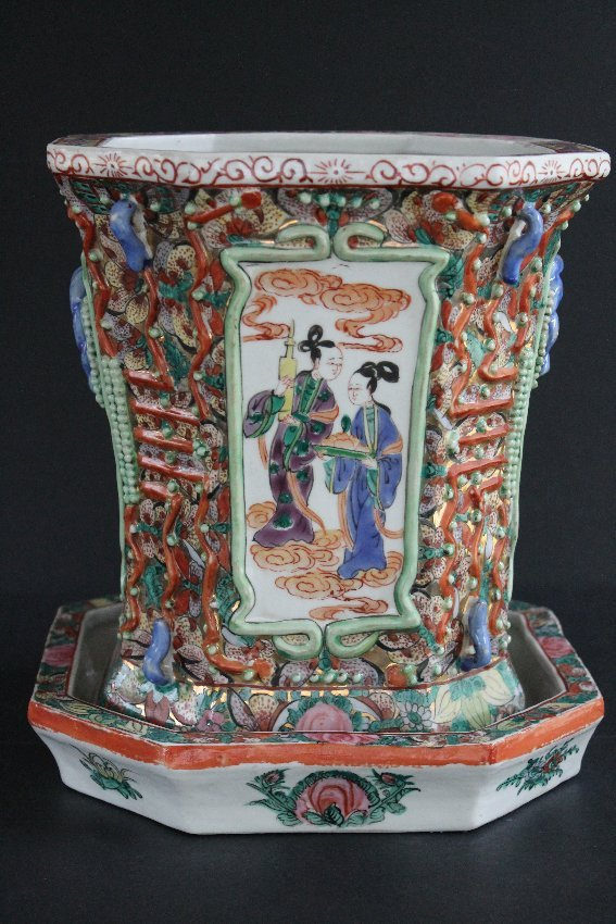 Unusual Chinese Famille Rose Planter Jardiniere & Tray