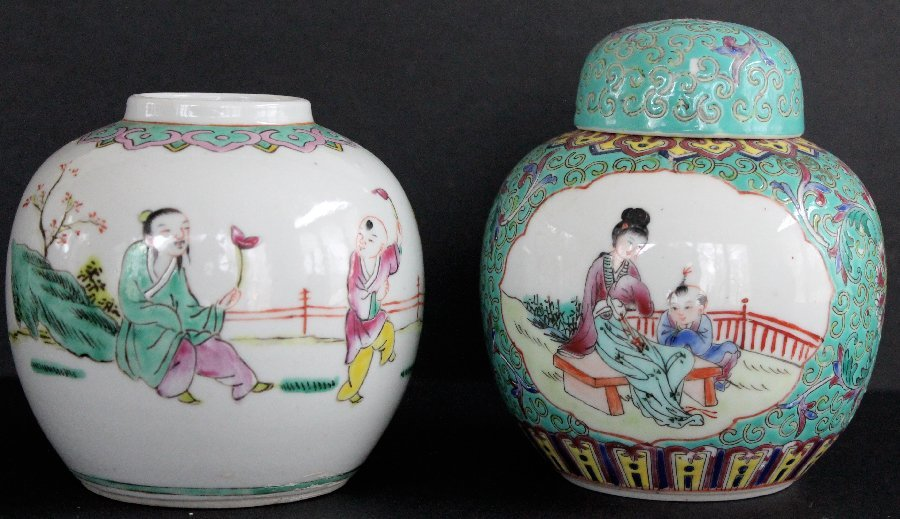Two Chinese Famille Rose Porcelain Jars