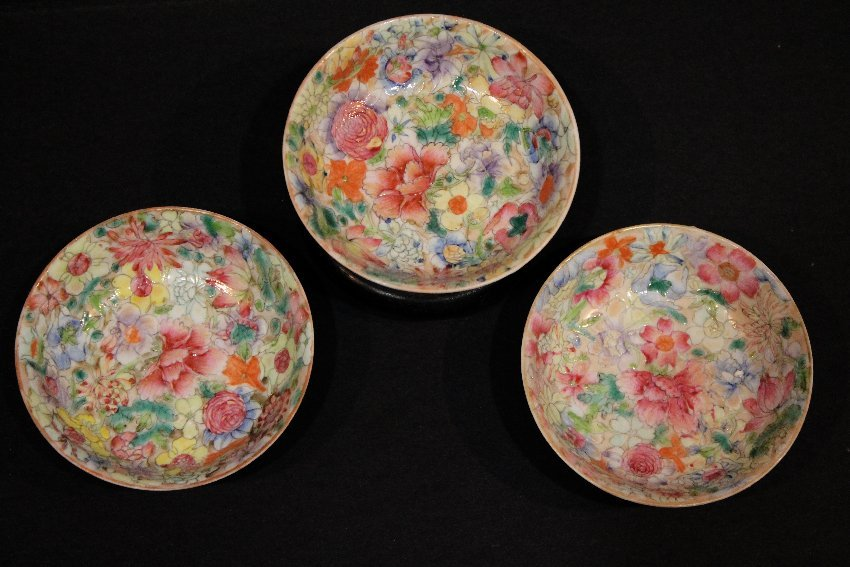 Three (3) Chinese Millefleur Porcelain Bowls Dishes,