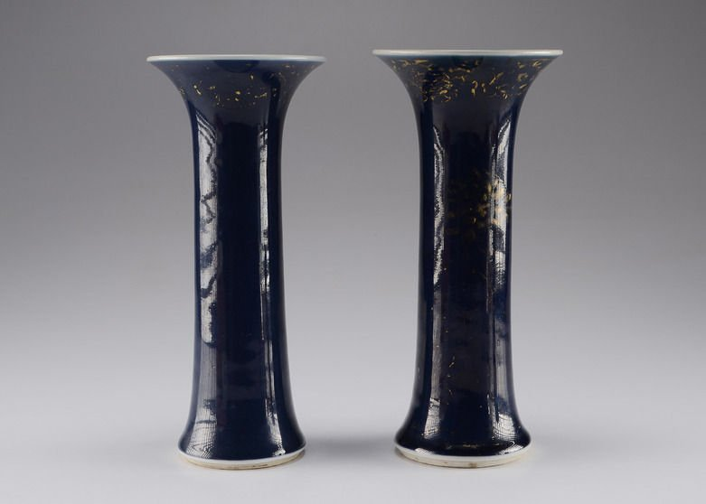 Rare Pair 18th Chinese Blue Gilt Gu Vases Qianlong
