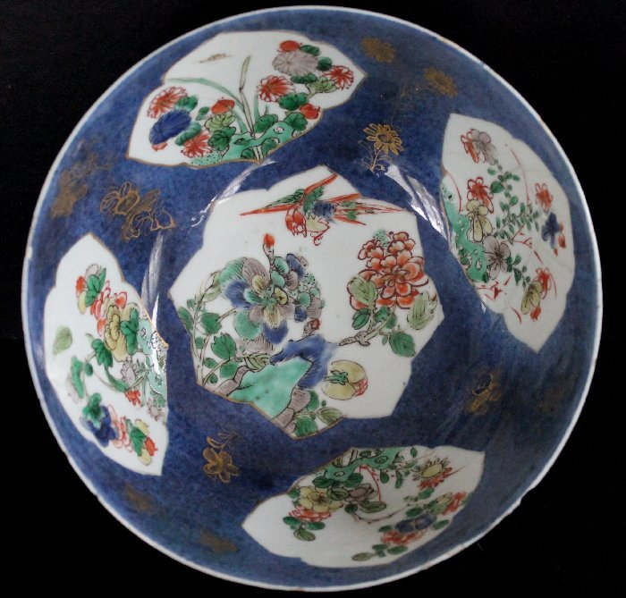 Chinese Powder Blue Verte Porcelain Bowl Kangxi