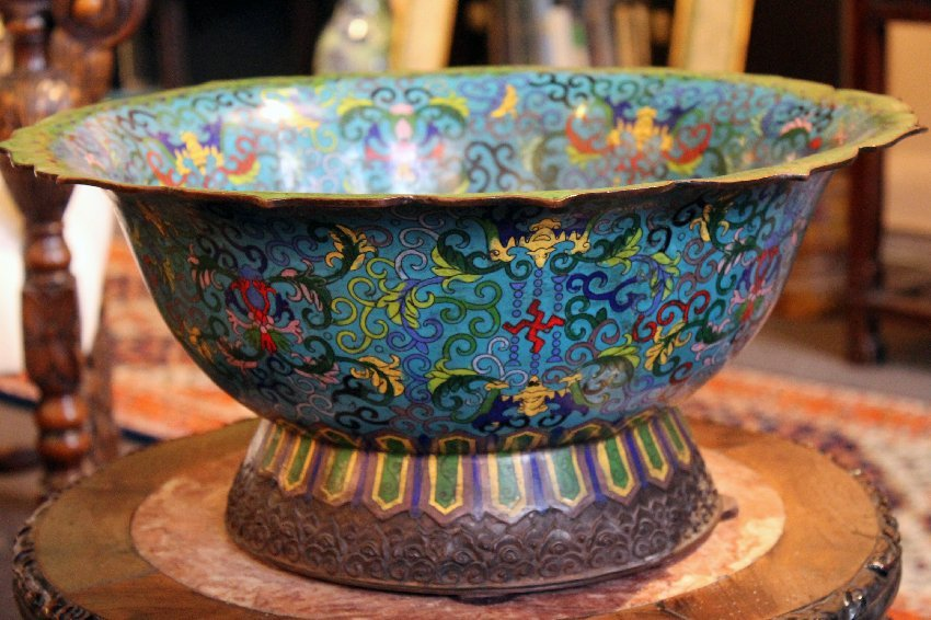 Monumental Antique Chinese Cloisonne Basin Bowl 19th