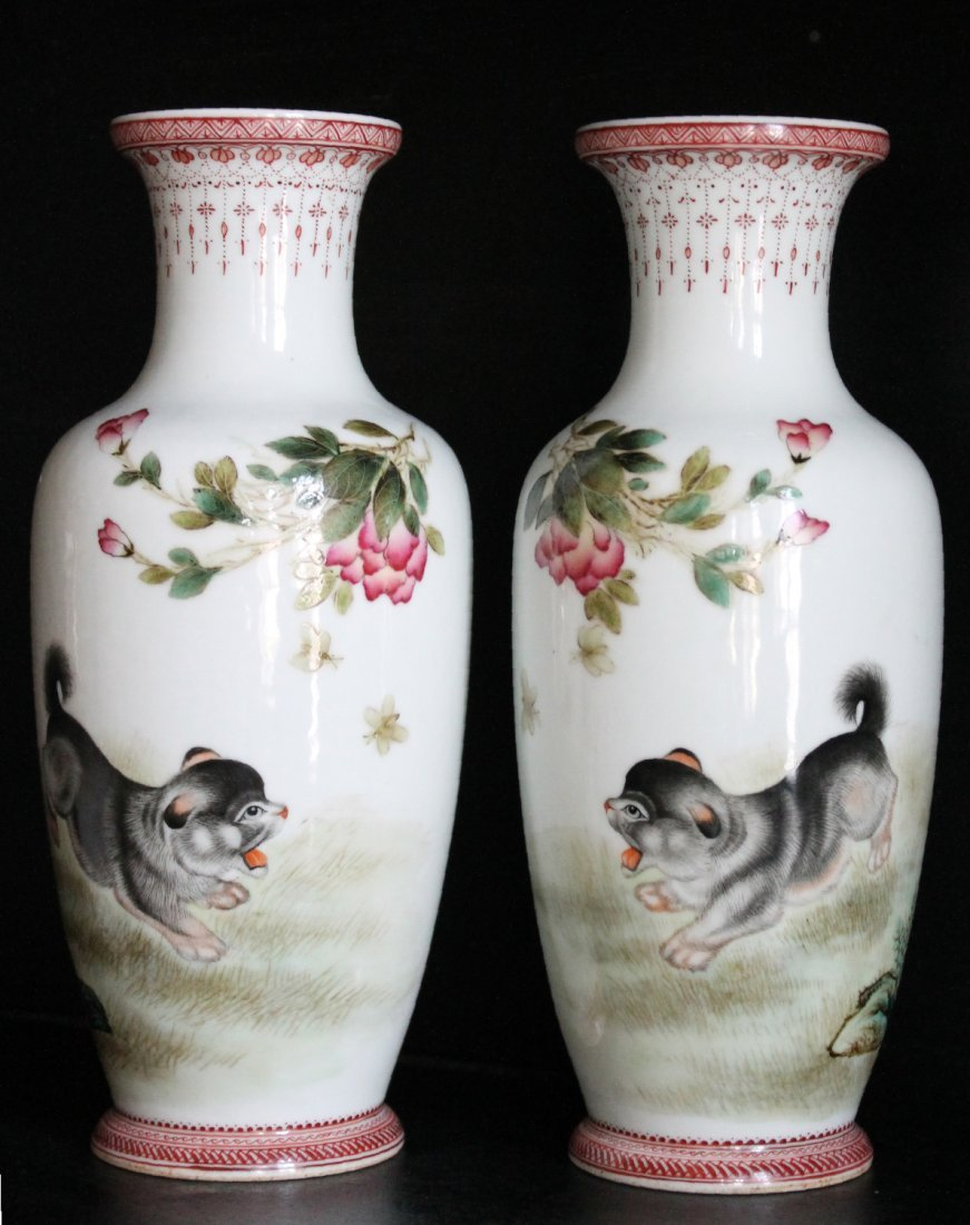 Rare Pair Chinese Famille Rose Porcelain Vases Signed