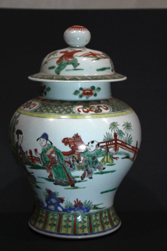 Large Chinese Famille Verte Jar with Lid