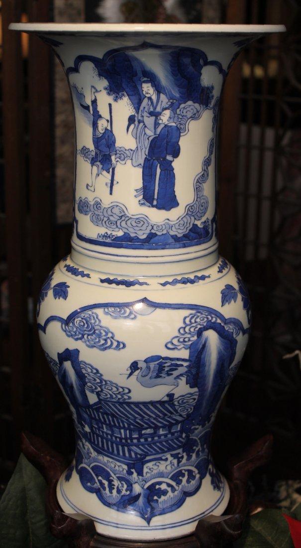 Large Chinese Blue and White Yenyen Kangxi Vase