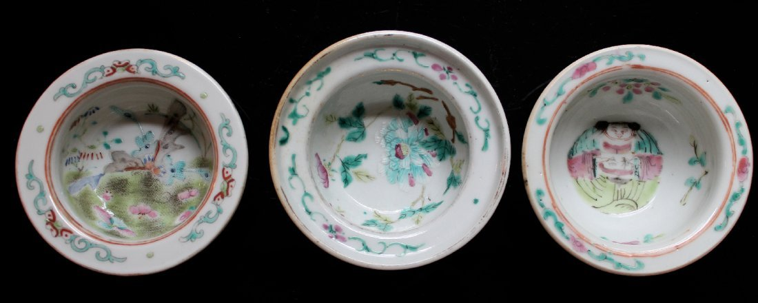Three Chinese Famille Rose Bowls, Marked