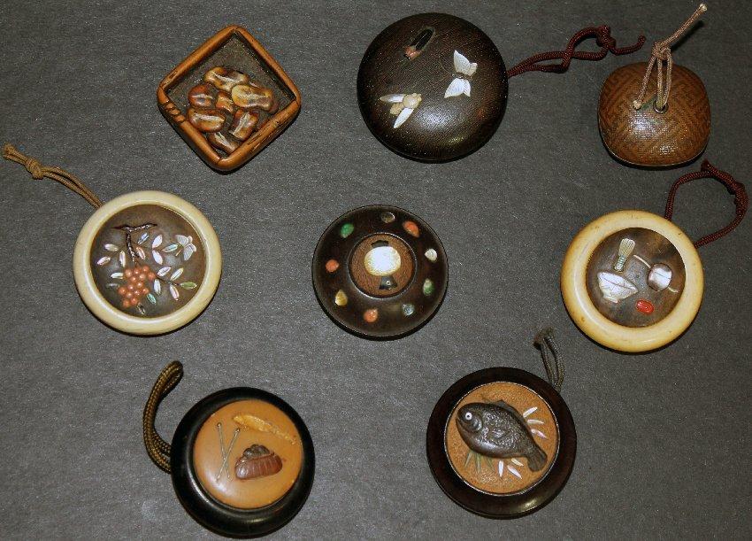 Group of 8 Antique Japanese Ivory Wood Manju Netsuke