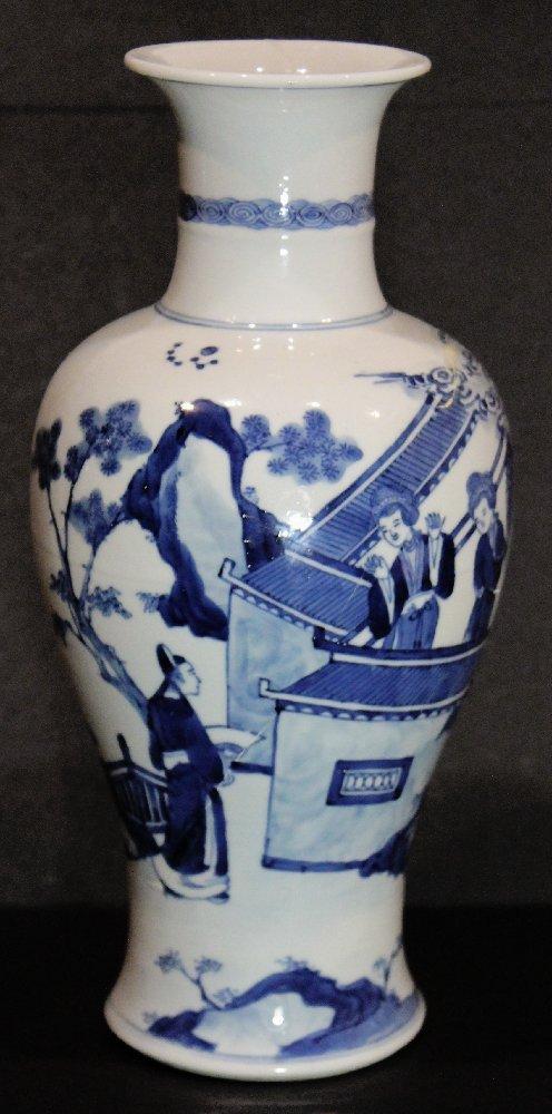 Fine Chinese Kangxi Blue and White Baluster Vase