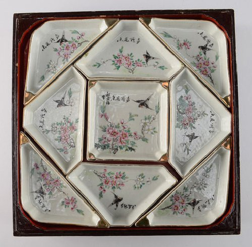 Fine Chinese Famille Rose Porcelain Sectioned Dishes in