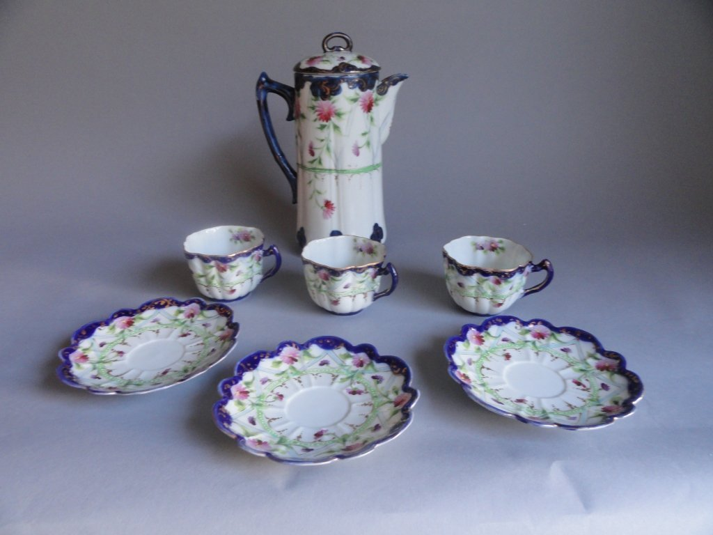 Antique Hand Painted 7 Piece Chocolate Set