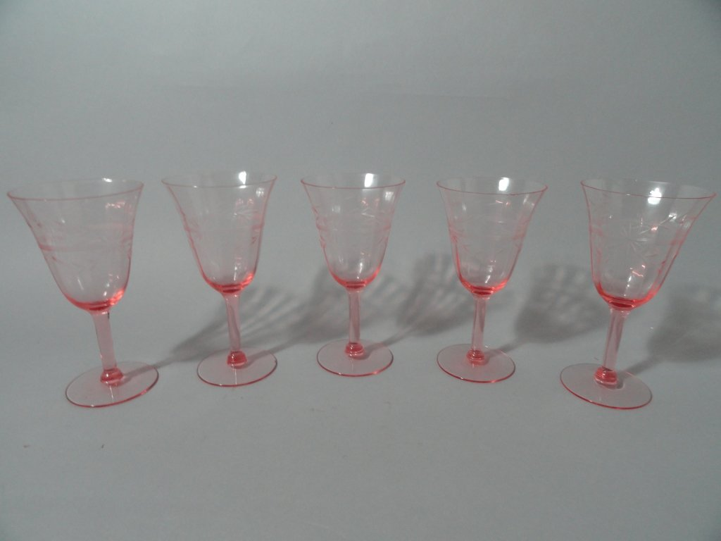 Pink Depression Glass Stemware