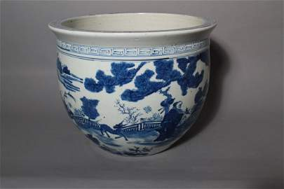 Large Blue & White Chinese Export Planter