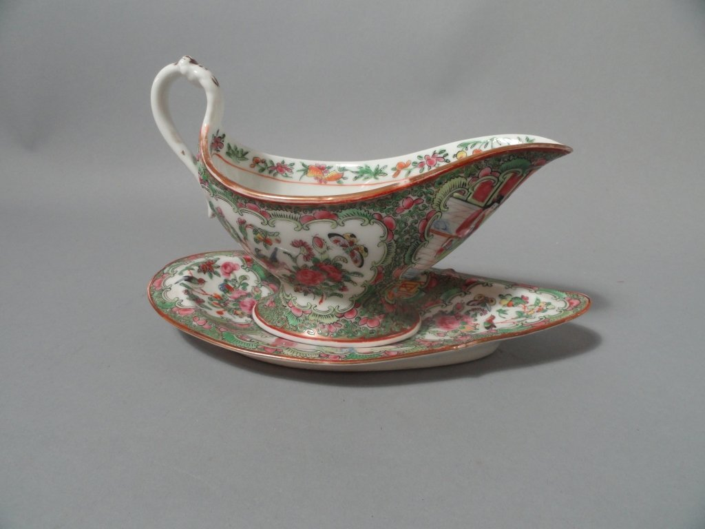 Chinese Rose Medallion Sauce Boat & Resting Tray