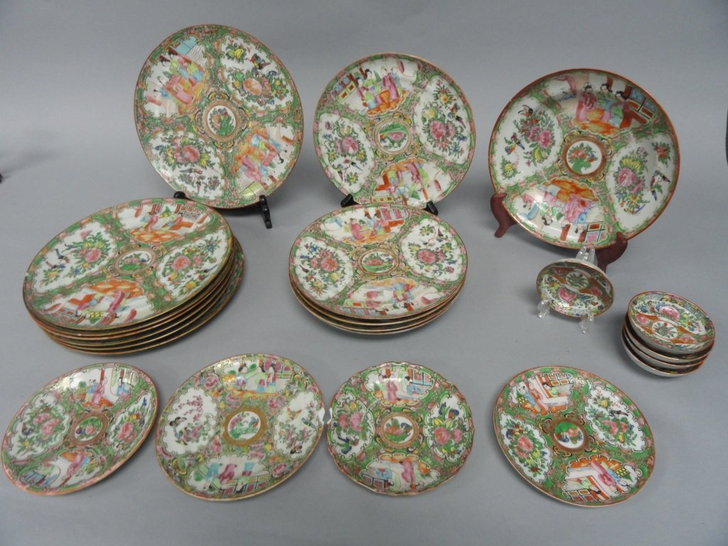 Lot of  22 - 19th Century Rose Medallion Plates