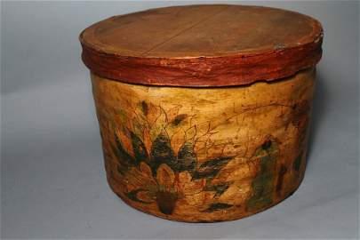 **Folk Art Decorated Hat Box