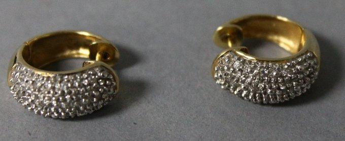 14K Yellow Gold Diamond Incrusted Earrings