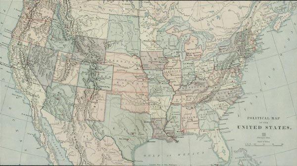 1020: Political Map of U.S. Framed