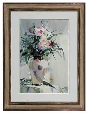"""John Cook, """"Fresh Flowers"""" Watercolor"""