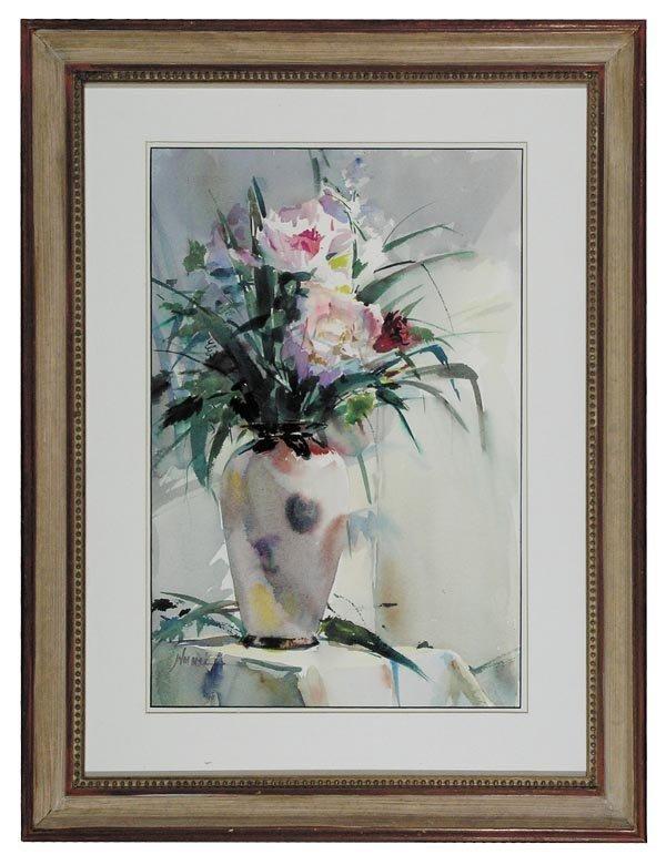 """1021: John Cook, """"Fresh Flowers"""" Watercolor"""