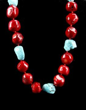 Chinese Coral and Turquoise Necklace