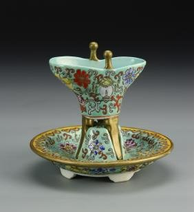 Chinese Famille Rose Wine Cup and Dish