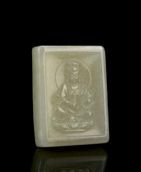 Chinese Carved White Jade Guanyin Pendant