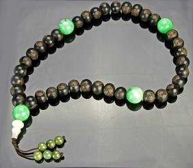 Chinese Carved Jadeite and Wood Necklace