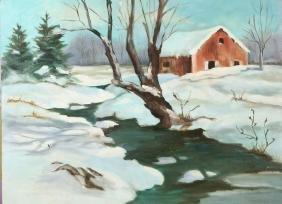 R.Miller, Winter in Vermont, Oil on Board