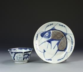 Chinese Export Blue and White Bowl and Plate