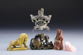 Five Chinese Soap Stone Items